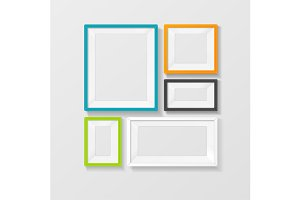 Vector color picture frame set