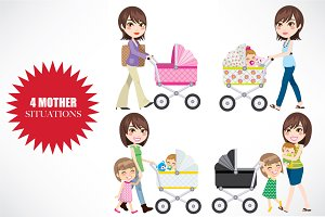 4 Mother Situations with Carriage