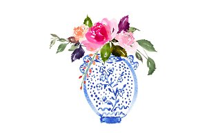 Watercolour Bouquet in Vase - No.3