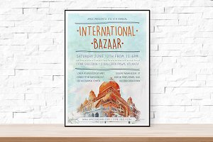 Watercolor Bazaar Flyer Template