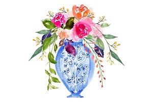 Watercolour Bouquet in Vase - No.4