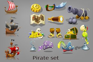 Set of  pirate items