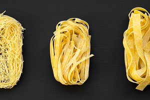 Set of various uncooked pasta