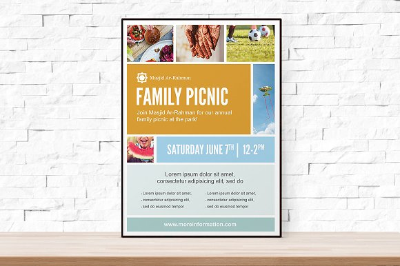 photo collage picnic flyer template flyer templates creative market
