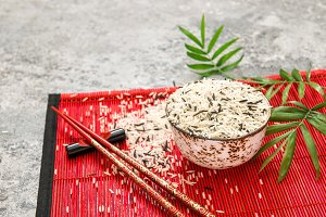 Rice chopsticks red bamboo mat