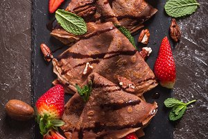 Traditional French crepes cooked