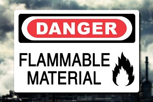 Danger Flammable Material Sign Decal