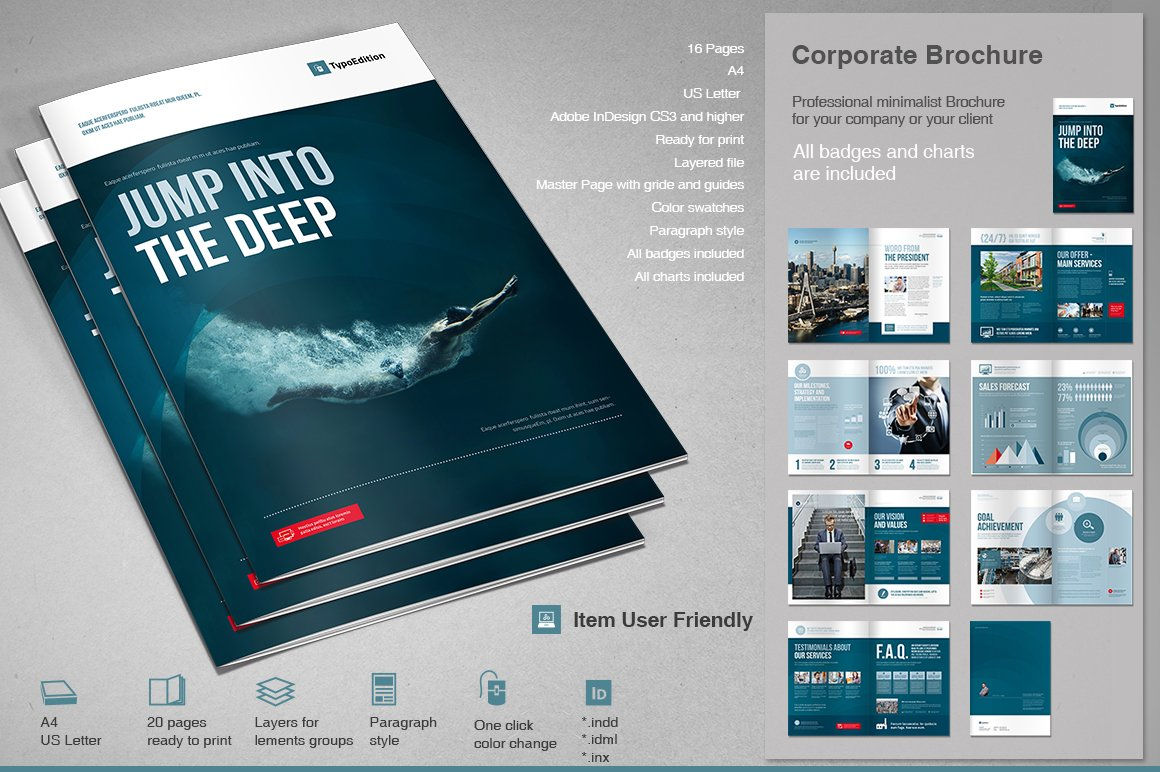 Corporate brochure 2 brochure templates creative market for Corporate brochure templates