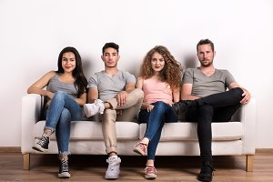 Portrait of young group of friends
