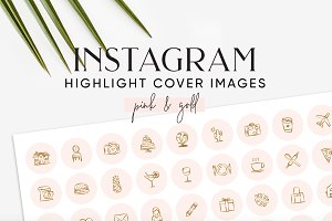 Pink Gold Instagram Highlight Covers