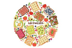Toast vector sandwich healthy