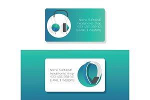 Headphone vector business card