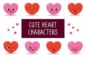 9x cute heart characters