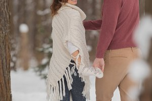 Young couple on a romantic walk in t