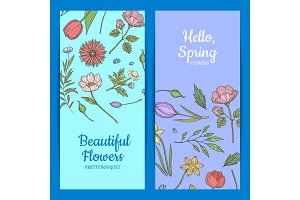 Vector hand drawn flowers web banner