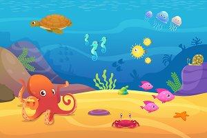 Underwater life. Aquarium cartoon
