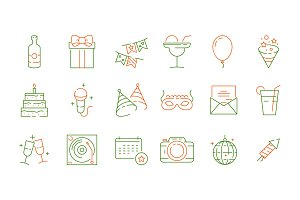 Party celebration icons. Fun events
