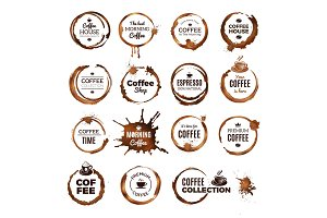 Coffee rings badges. Labels with