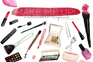 Makeup Clipart - Watercolor Make up