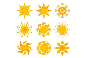 Sun graphics. Summer weather