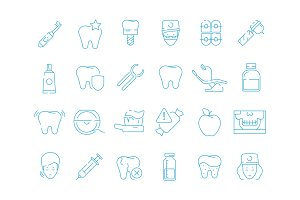 Stomatology icons. Dental teeth