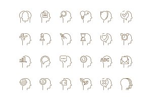 Idea in head icon. Mind creative