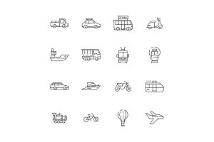 Public transport icons. Cars planes