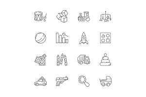 Toys icon. Games cars bear rattle