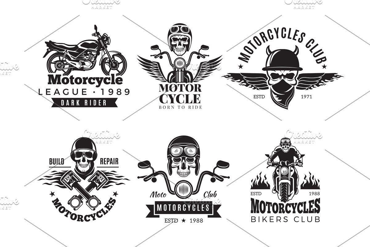a68268d9 Biker labels. Vintage custom ~ Graphics ~ Creative Market
