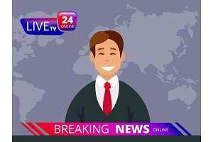 Television news. Breaking reporter