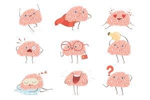 Brain characters. Cartoon mascot