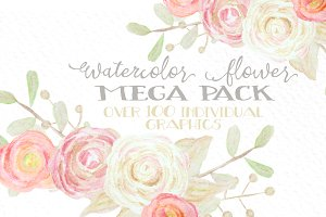 Watercolor Flowers Mega Pack