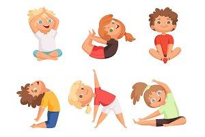 Yoga kids. Children making different
