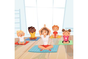 Yoga kids group. Children making