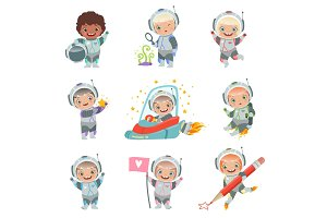 Childrens in space. Kids astronauts