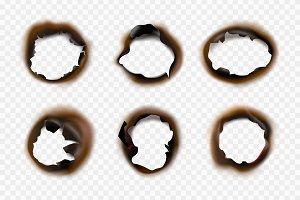 Burn paper holes. Fire damaged