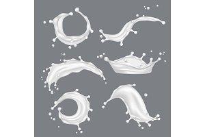 Milk splashes. White drop liquid