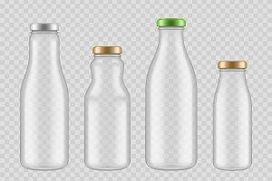 Jar glass bottles. Transparent