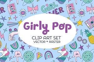 Girly Pop Clip Art Set (vector)