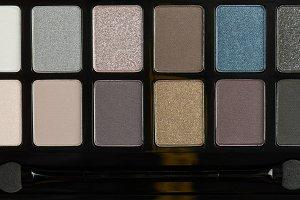 Palette of eye shadow makeup