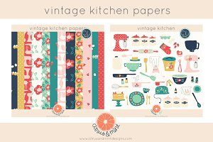 vintage kitchen clip art and papers
