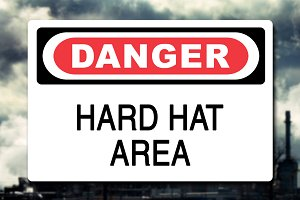 Danger Hard Hat Area Sign Decal