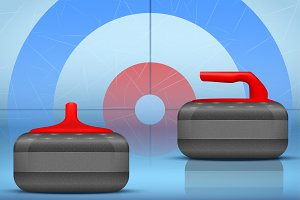 Curling stones equipment background