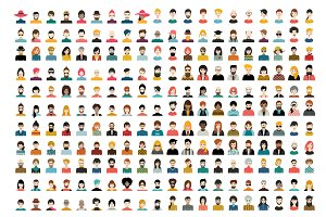 Mega set of avatars, woman, man head