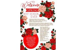 Spring floral banner of rose flowers