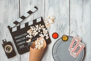 Clapperboard, movie box, popcorn bag