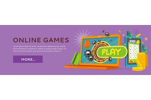 Online Games Web Banner Isolated
