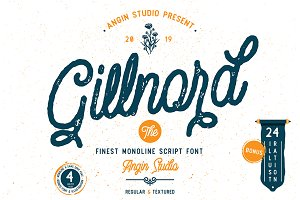 Gillnord Script (4 fonts & extras)