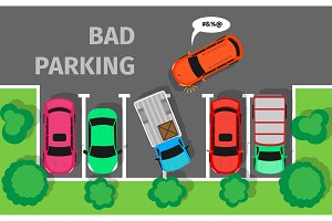 Bad Parking. Car Parked in