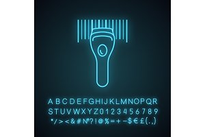 Barcode scanning neon light icon